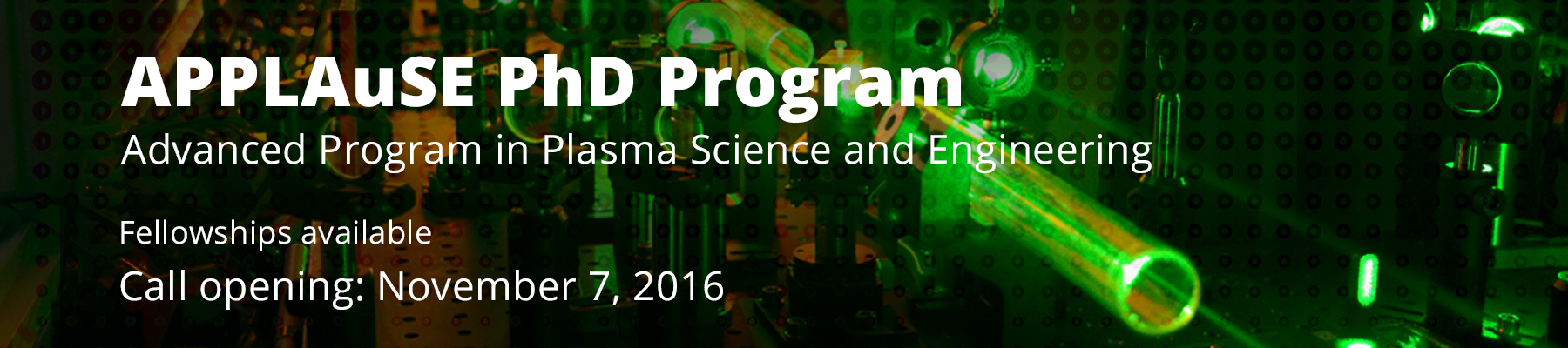 PhD Advanced Program in Plasma Science and Engineering - Call for applications in November 2016